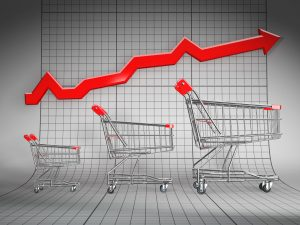 Sales growth. Shopping basket and graph