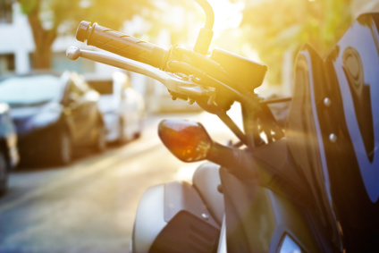 Colorful handlebar motorcycle in sunrise, soft focus and blur